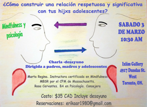 Graphic: Reproduction of a poster for an event, a Mindfulness workshop Rosa does with colleague Marta Regina.